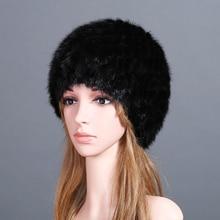 купить Women Real Mink Fur Hats Luxury Autumn Winter Genuine Knitted Pineapple Shape Striped Lady Warm Caps Female Beanies Headgear по цене 1391.99 рублей
