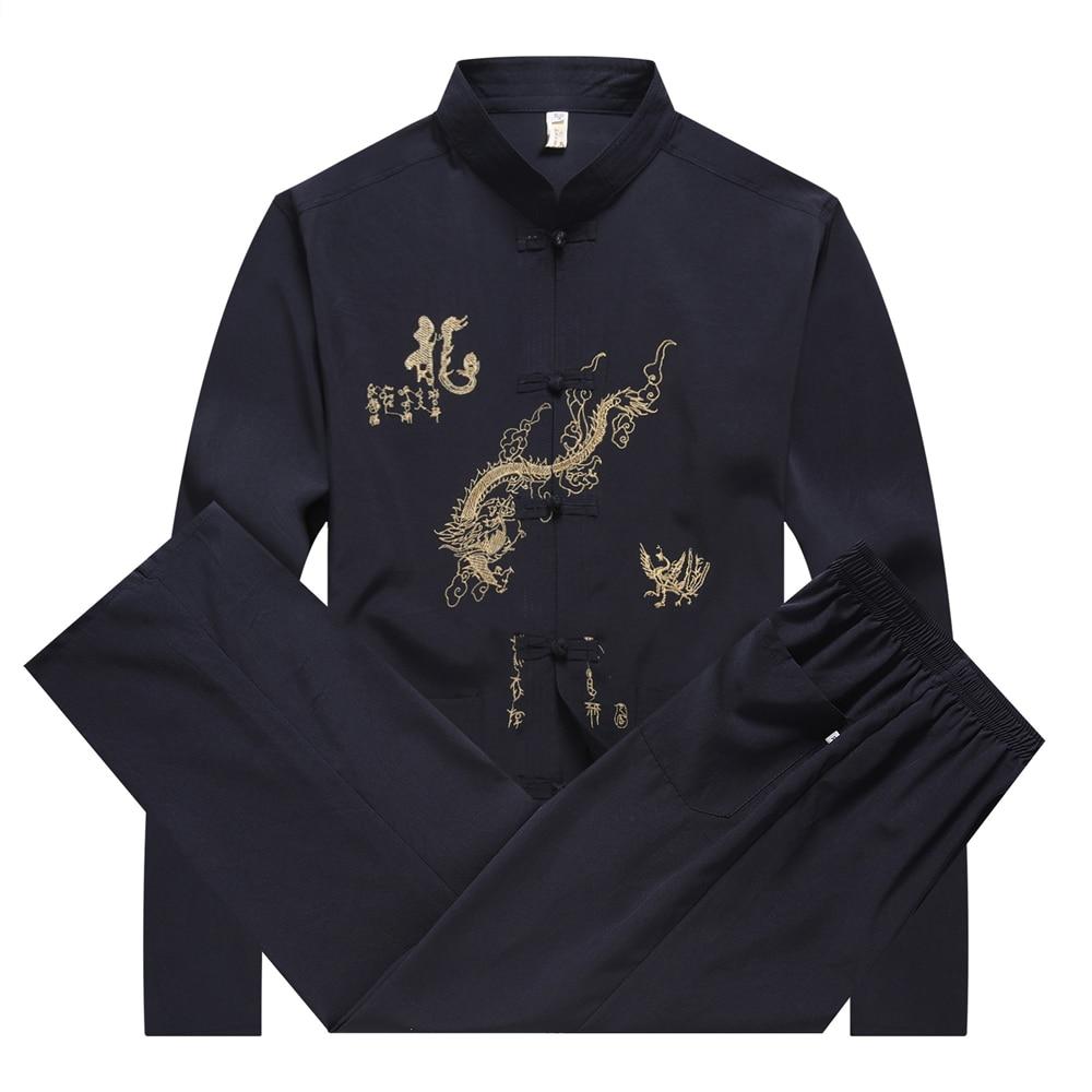 Embroidery Dragon Chinese Style Taichi Tang Suit Men Long Sleeve Shirt&Pants Traditional Clothes Mandarin Collar Kung Fu Set