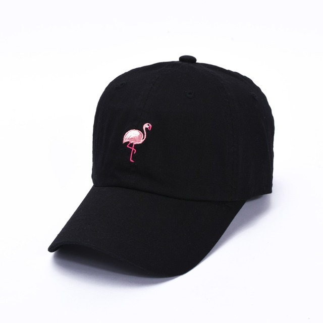 85b4223956194 Embroidery Slouch Pink Flamingo Adjustable Curved Bill Dad Hat Baseball Cap  Thin Hat Bone Strapback Snapback Hip Hop Cap