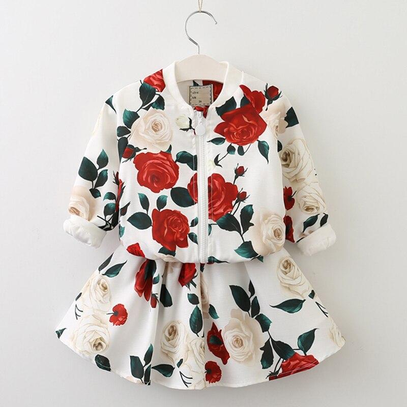 где купить Girls Clothing Sets 2018 Fashion Girls Clothes Long Sleeve Floral Coats+Rose Floral Skirts Children Clothes Kids Clothing Sets по лучшей цене