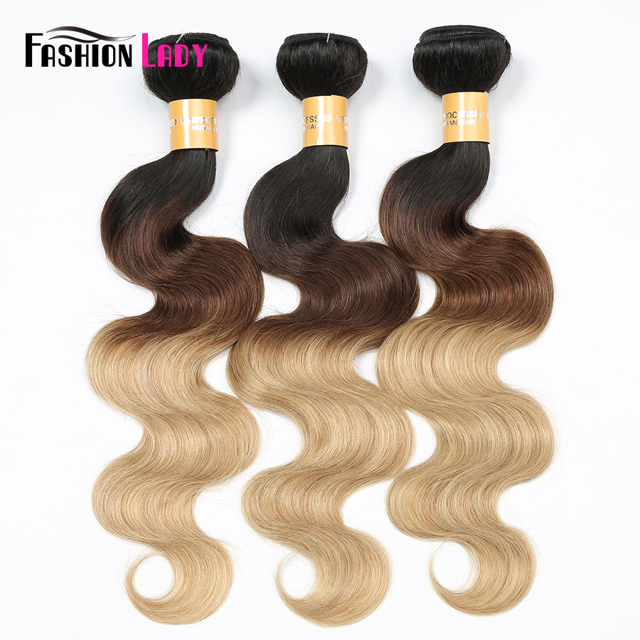 Fashion Lady Pre-Colored Indian Human Hair Weave Body Wave Ombre Hair Bundles 1b/4/27 1/3/4 Bundles Per Pack Non-Remy