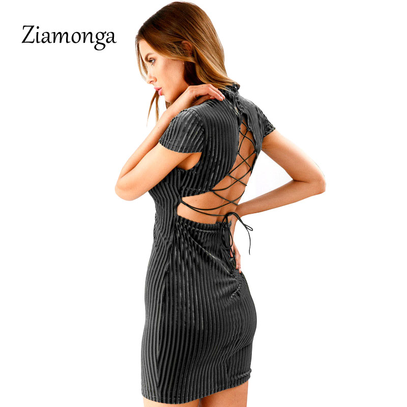 27b8b6c48a81a Ziamonga Lace Up Backless Bodycon Women Dress Sexy Hollow Out Slim Corduroy  Mini Dress Autumn Pink Party Short Dress Vestidos-in Dresses from Women's  ...