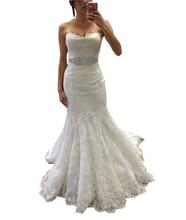 Fashion Sleeveless Sweetheart Mermaid Wedding Dresses 2016 Sweep Train Lace and Applique with Belt Robe de mariage Bridal Gowns