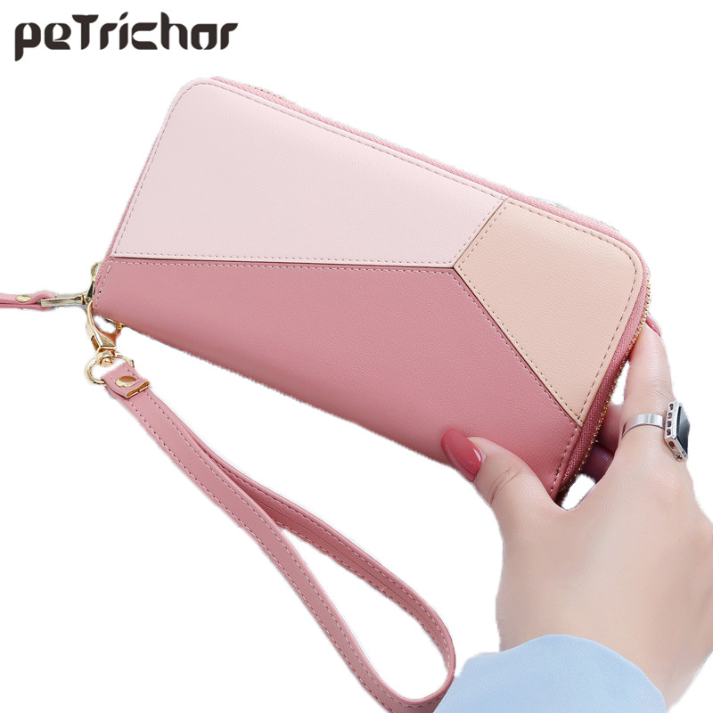 Petrichor New Design Patchwork Elegant Long Zipper Women Wallet Wristband Female Money Purse Soft PU Coin Pocket Card Holder Bag simple organizer wallet women long design thin purse female coin keeper card holder phone pocket money bag bolsas portefeuille