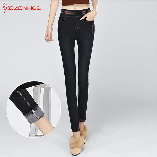 7c650af194bdc Cashmere Winter Warm Jeans Women With High Waist Black Jeans For Girls Stretching  Skinny jeans elastic waist Large Size