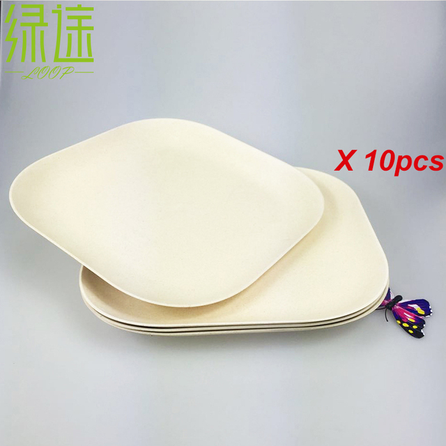 10PCS Bamboo fiber wooden dinner plates home kitchen dinnearware square bread plate serving breakfast food tray & 10PCS Bamboo fiber wooden dinner plates home kitchen dinnearware ...