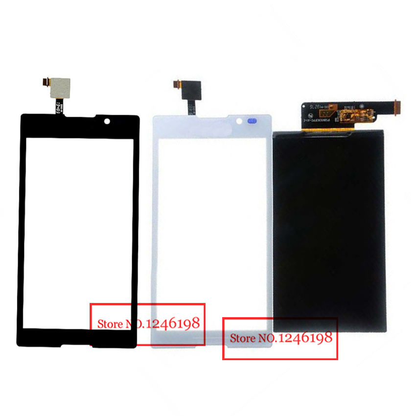 Prix pour Noir/Blanc Écran Tactile Digitizer Verre Capteur + LCD Panneau D'affichage écran Pour Sony Xperia C S39h C2304/C2305 Téléphone pièces