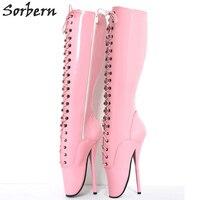 Sorbern 18 см сапоги до колена Спайк Высокий каблук балетные сапоги для женщин унисекс сапожки на тонком каблуке Острый носок с перекрестной шну