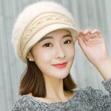 b865b447 HT2140 Women Beret Winter Rabbit Fur Cap Hat for Women Solid Thick Warm  Female Beret Cap Lady Fleece Lined Beret Hat Newsboy Cap