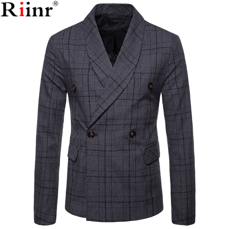 Riinr New Arrival Business Mens Blazer Casual Blazers Men Lattice Formal Jacket Popular Design Men Dress Suit Jackets Fashion