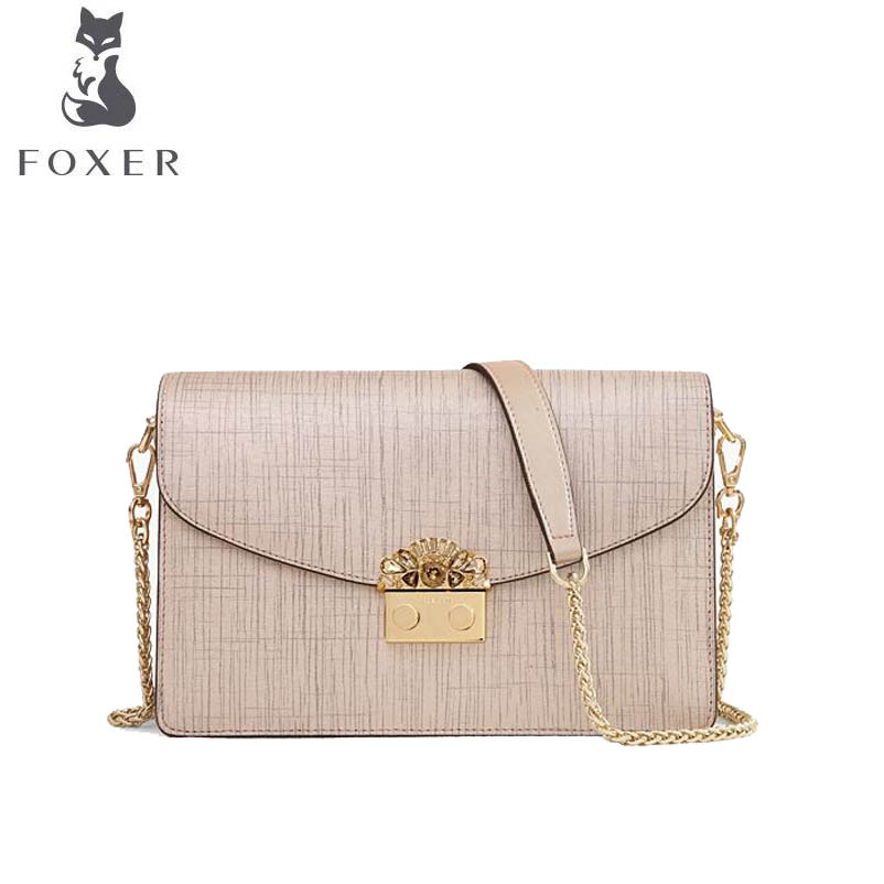 цена на FOXER 2018 New women Leather bag fashion Chain small bag luxury handbag women famous brand women leather shoulder crossbody bag