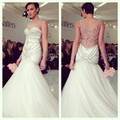 Luxo Cheio de Pérolas Sereia Pescoço Da Colher Do Vestido de Casamento Custom Made Até O Chão Sheer Voltar Vestido de Casamento vestido de casamento de Cristal