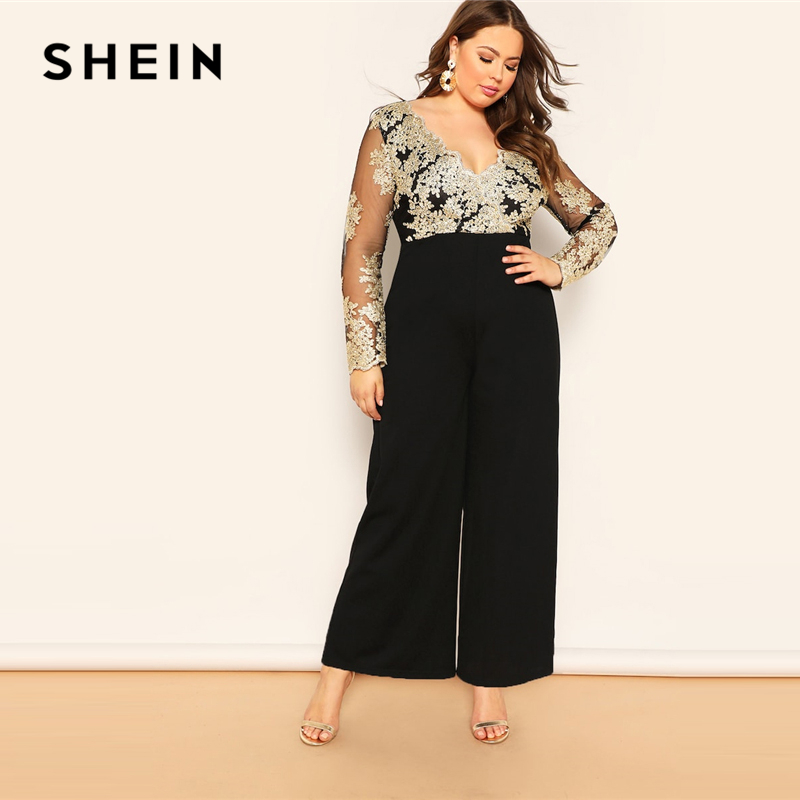 SHEIN Black Plus Size Embroidered Contrast Mesh Bodice Wide Leg Women Plain   Jumpsuits   Deep V Neck Casual Longline   Jumpsuit