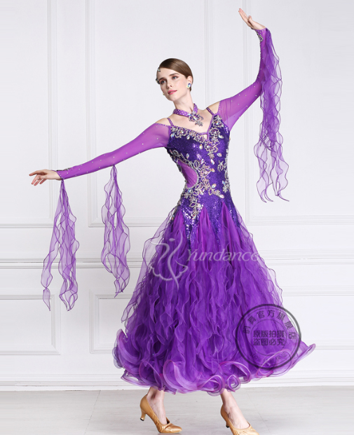 kohandada lilla rhinestone rebane traav valss tango standard ballisaal kleit võistlus ballis tantsu kleit daam tüdruk naised