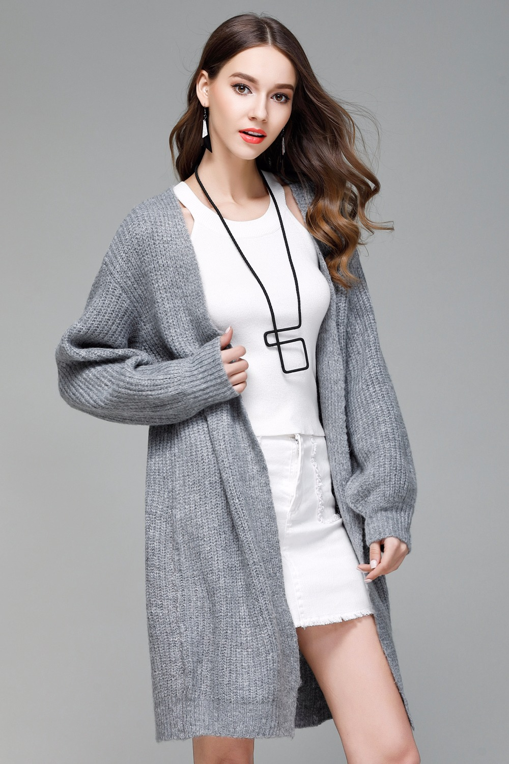 Chompas de mujer para el invierno 2018 Autumn Winter Women Sweaters Long Knitted Cardigans Patchwork Swetry Damskie Sueter Mujer