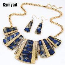 Kymyad Vintage Jewellery Sets For Women Geometric Leopard Jewelry Sets African Indian Jewelry Set New Statement Necklace Set недорого