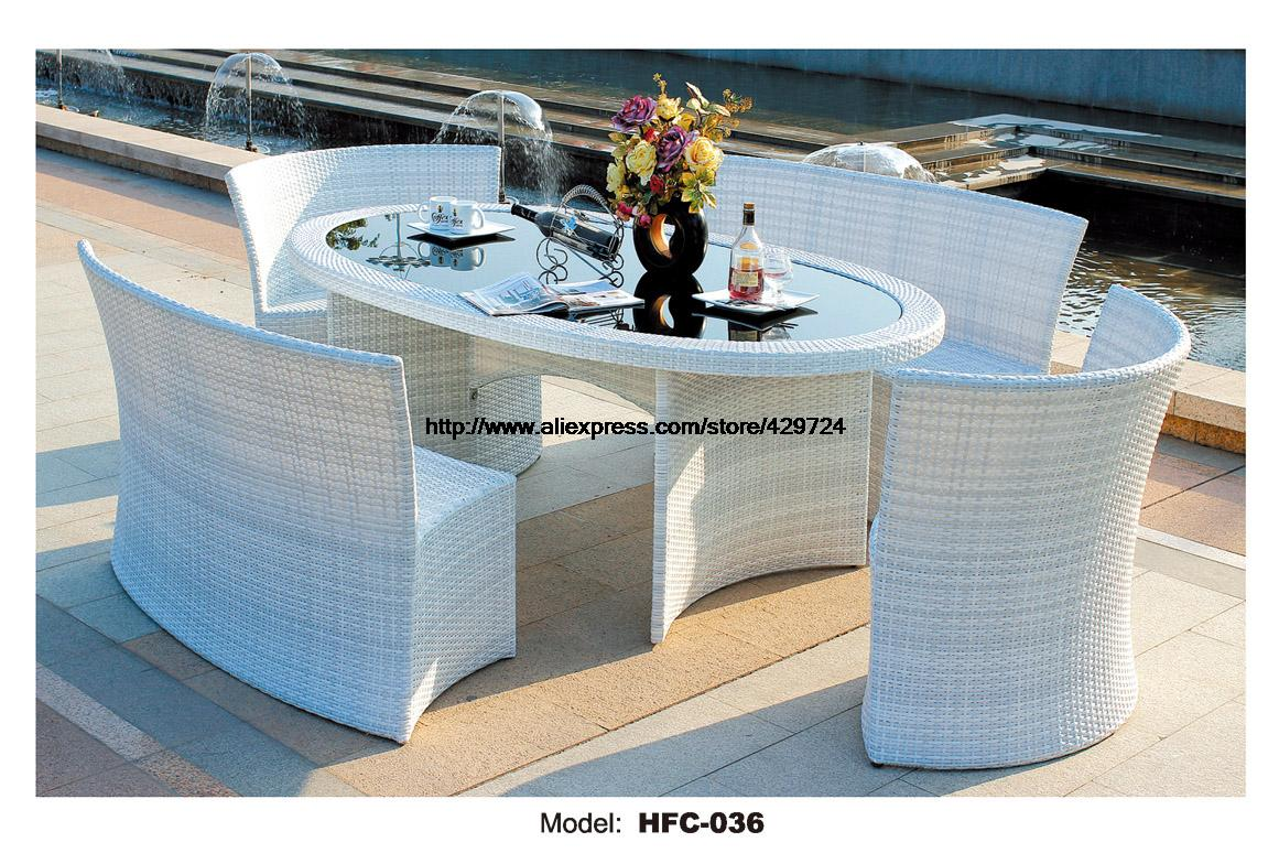 Elegant White Rattan Garden Set Modern Rectangle Table 4 Rattan Chair Set  Leisure Balcony Garden Furniture Combination Set 1.6M