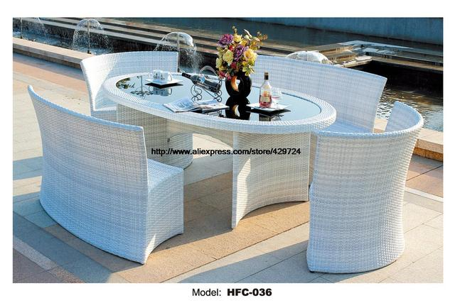 Tavolo 4 Sedie Rattan.Elegante Bianco Da Giardino In Rattan Set Moderno Rettangolo Tavolo