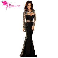 Dear Lover Blue Velvet Rhinestone Detail Lace Insert Evening Party Dress LC22593
