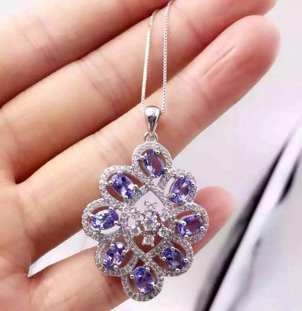 Natural azul tanzanite pingente S925 prata gemstone Natural Pingente de Colar na moda elegante Círculo de Flores mulheres jóias