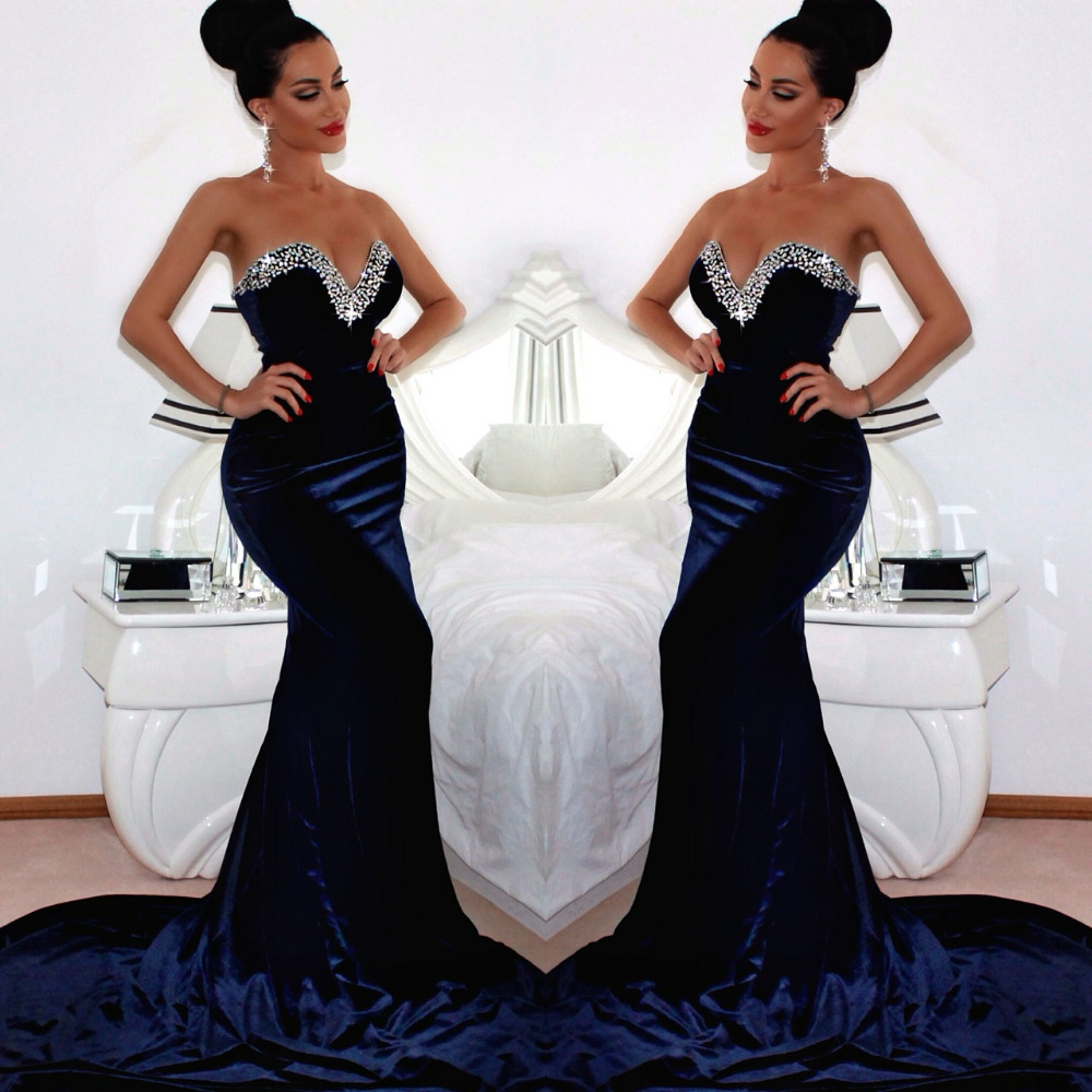 1d2520c6c3f Fashion 2016 Arabic Kaftan Moroccan Dresses Sweetheart Mermaid Dark Navy  Blue Velour Elegant Long Evening Dresses-in Evening Dresses from Weddings    Events ...