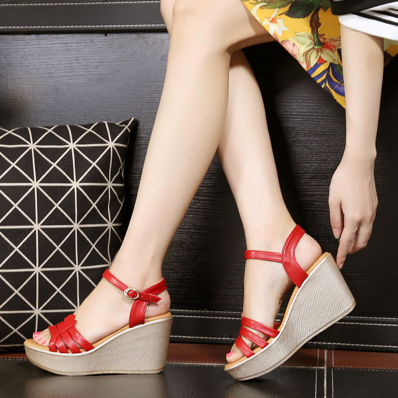 Fashion Split Leather Wedges Shoes for Women Summer Sandals 2018 Ankle Buckle Platform Sandals Ladies Black Red White Blue lf30834 red black white polka dot ankle strap wooden wedges platform clogs party sandals