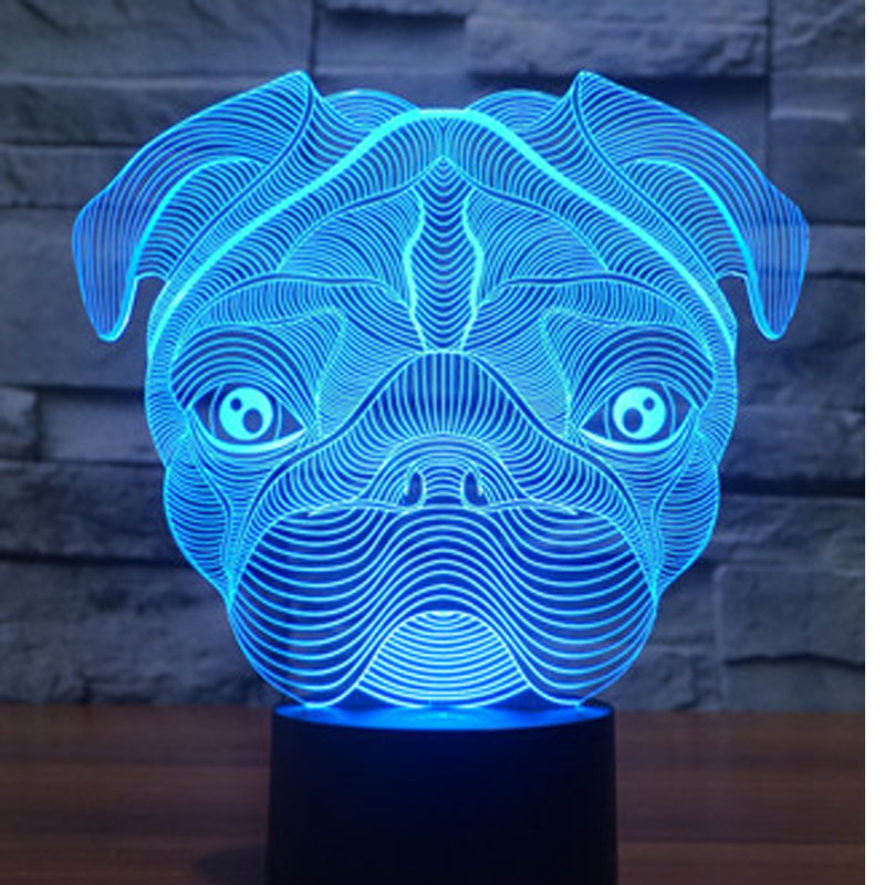 3D LED Night Light Dog with 7 Colors Light for Home Decoration Lamp Amazing Visualization Optical Illusion Awesome free shipping 1piece new arrive marvel anti hero deadpool figure light handmade 3d bulbing illusion lamp led mood light for kid