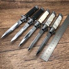 "ZZSQ 11 ""איטלקי AKC פגיון מאפיה טקטי הישרדות מתקפל סכין 440C מראה להב אקריליק ידית חיצוני ציד EDC כלי"