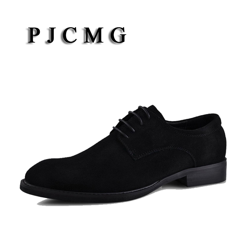PJCMG New Breathable Black Brown Dress Cow Suede Leather Pointed Toe Lace Up Wedding Business Oxford