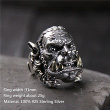 925 Sterling Silver Men Unique Rings Warcraft Character Avatar Thai Silver Retro Domineering Open Ring for Men Unique Jewelry s925silver restoring ancient ways ring thai silver open personality domineering skull ring men