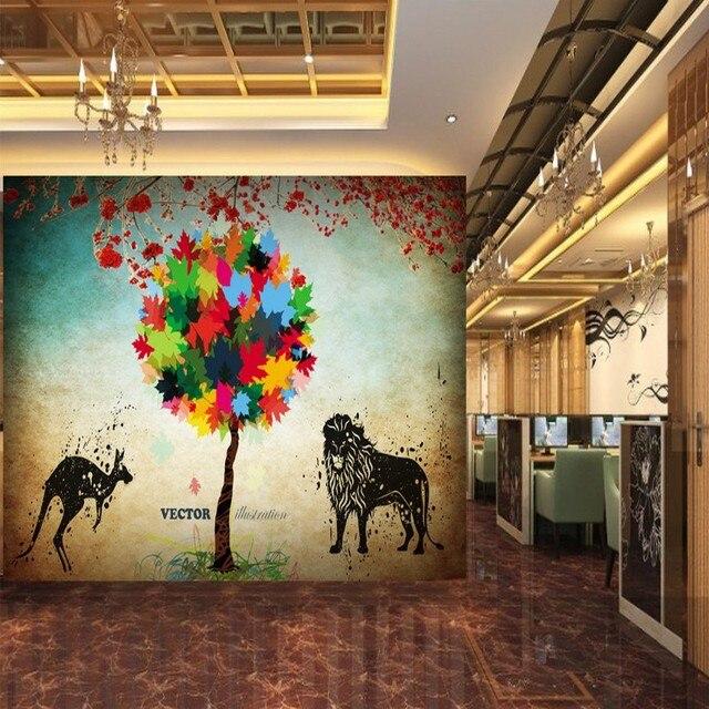 Fototapete Blätter Lion Känguru Silhouette Hintergrund Wandbild Restaurant Schlafzimmer  Galerie Tapete TV Hintergrund Wandbild
