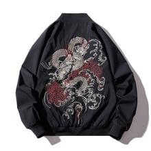 Bomber Jacket Men Chinese Dragon Embroidery Pilot Jacket Retro Punk Hi