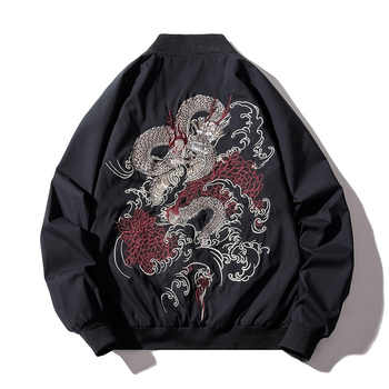 Bomber Jacket Men Chinese Dragon Embroidery Pilot Jacket Retro Punk Hip Hop Jacket Autumn Youth Streetwear High Street Hipster - DISCOUNT ITEM  30% OFF All Category