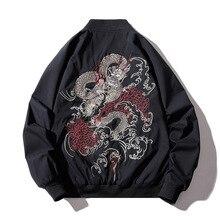 Kurtka Bomber mężczyźni chiński haft smoka kurtka pilotka Retro Punk kurtka Hip Hop jesień młodzieży Streetwear główna ulica Hipster