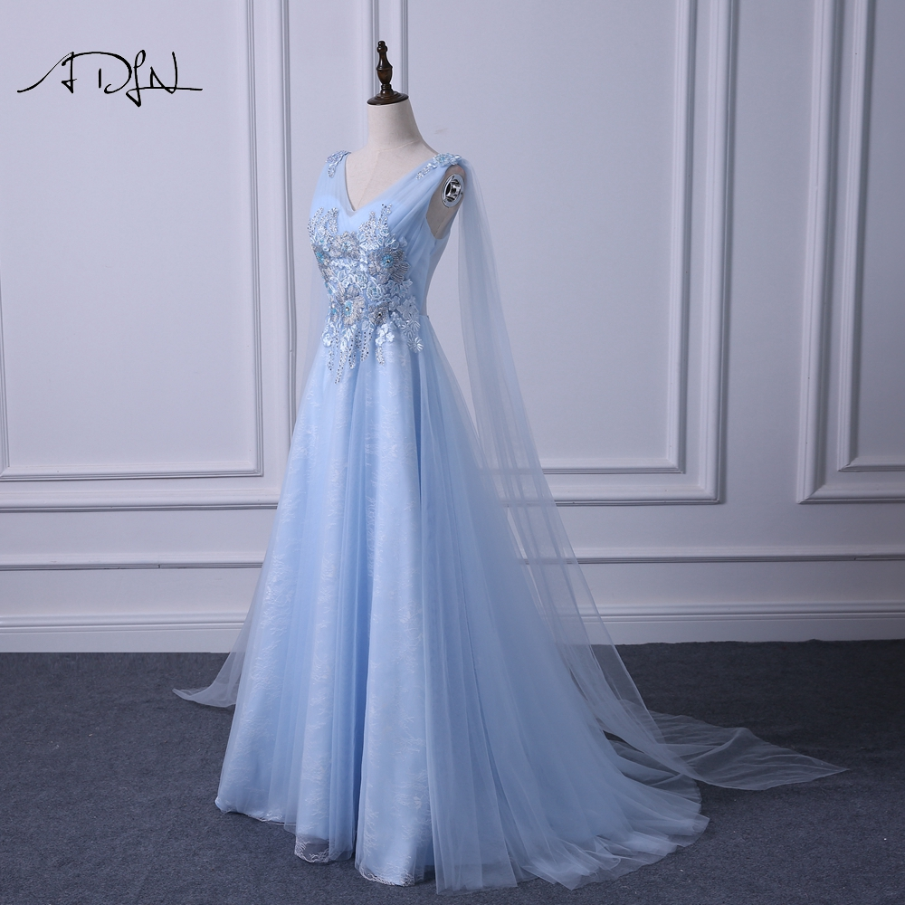 ADLN Elegant V neck Evening Dresses Long Fashionable Blue Prom Gown Dress with Watteau Train A line Formal Wedding Party Dress - 4