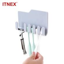 ITNEX 1PC Bathroom Accessories Plastic Toothbrush Holder Toothpaste Storage Rack Shaver Tooth Brush Organizer Hooks