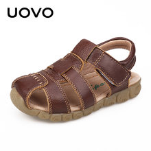 UOVO 2019 Summer Kids Shoes Brand Closed-Toe Toddler Boys Sandals Orthopedic Sport Leather Baby Sandals Boys Beach Shoes 21#-30#(China)