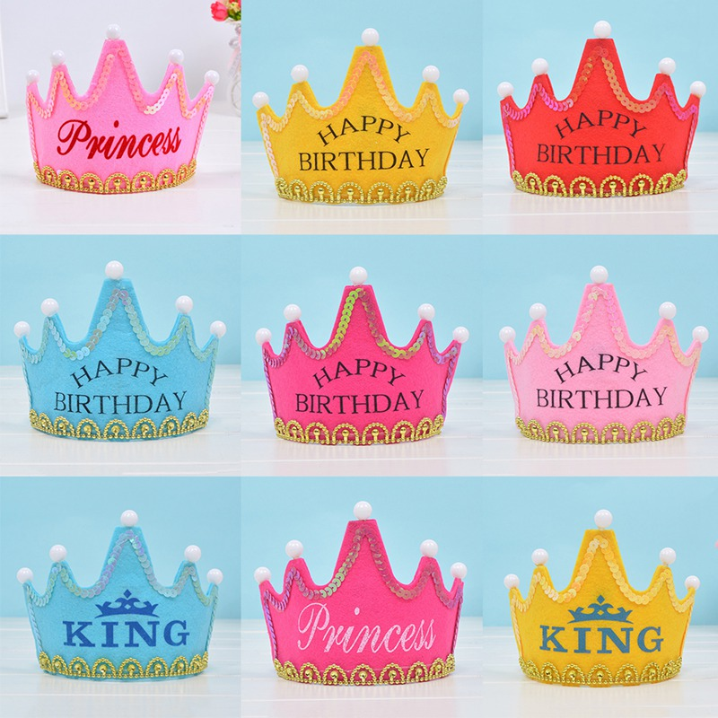 2019 New Happy Birthday Hat Crown Child Adult Universal Led Light