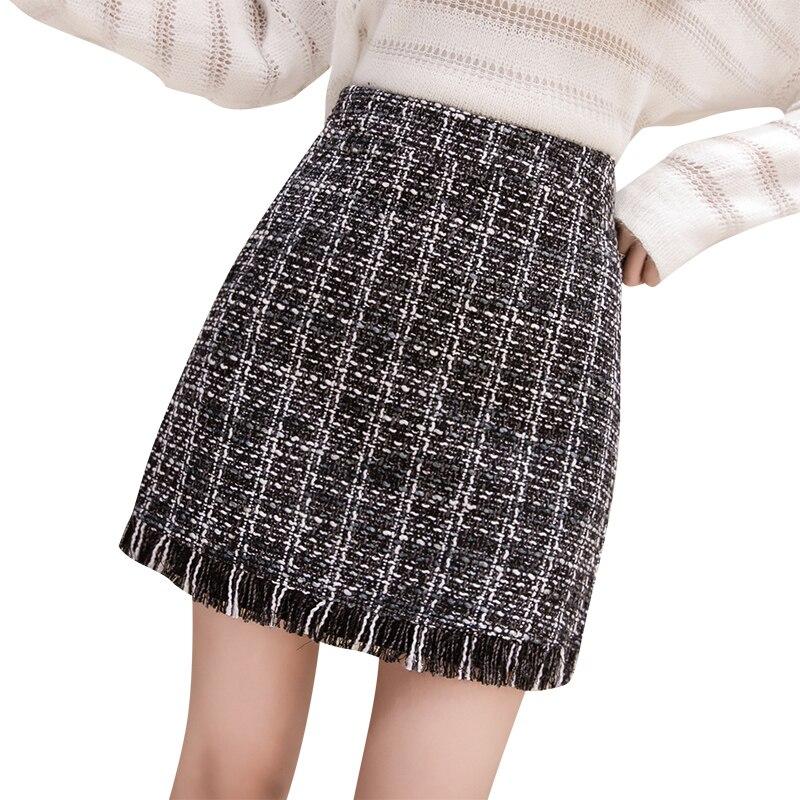 b1507758 US $13.12 26% OFF Koreański modne tweed spódnica kobiety plaid szczupła  pomponem jesień zima wysokiej talii mini spódniczki wełniana podszewka ...