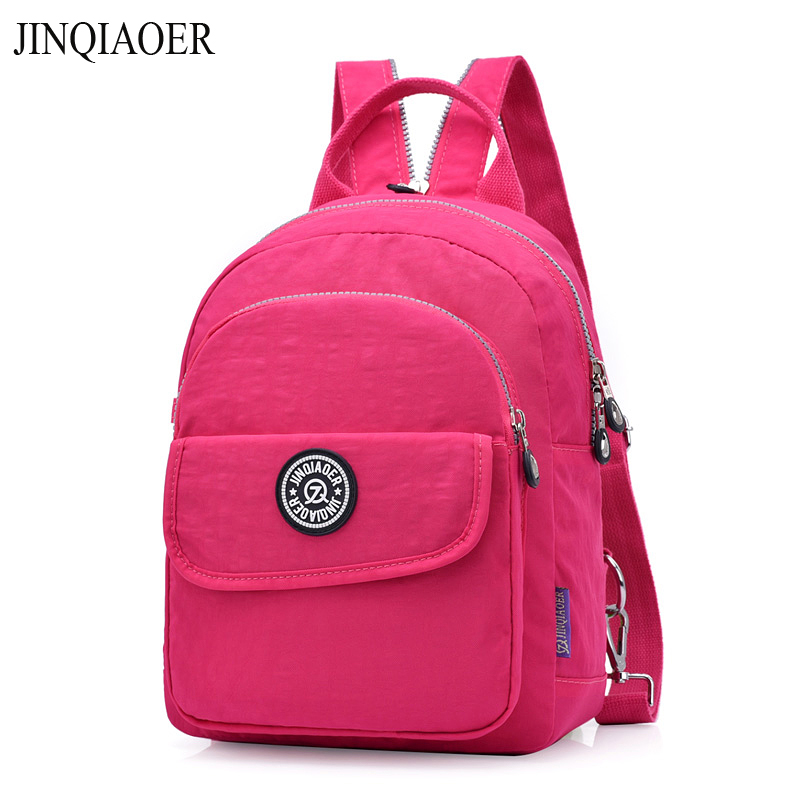 Jinqiaoer Brand Vintage Women Backpack Nylon Small Backpacks For Teenage Girls Multifunction Casual High Quality Shoulder Bags