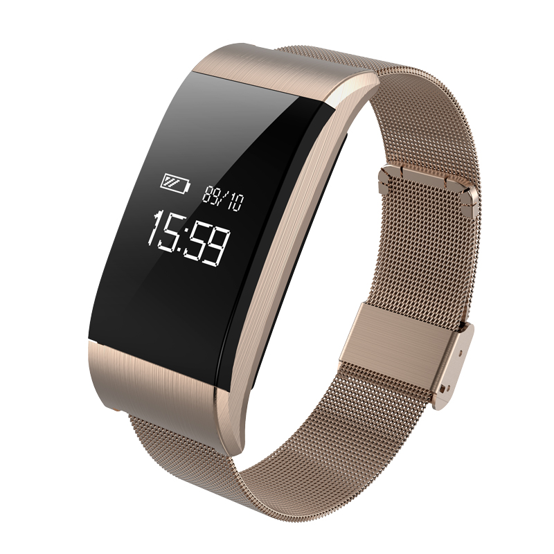 A66 Fashion Smartwatch Waterproof Bluetooth Sport Bracelet Blood Pressure Fitness Tracker Metal Wristband Notification Push OLED