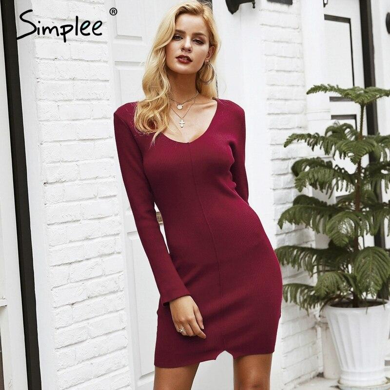Simplee сексуальное платье с v-образным вырезом, красный вязаный свитер, платье с разрезом по подолу, платье с длинными рукавами, черные осенне-з...