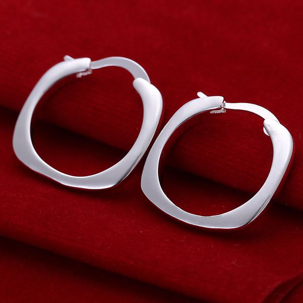silver plated earrings fashion jewelry earrings beautiful earrings high quality Flat Square Round Earrings xf jt