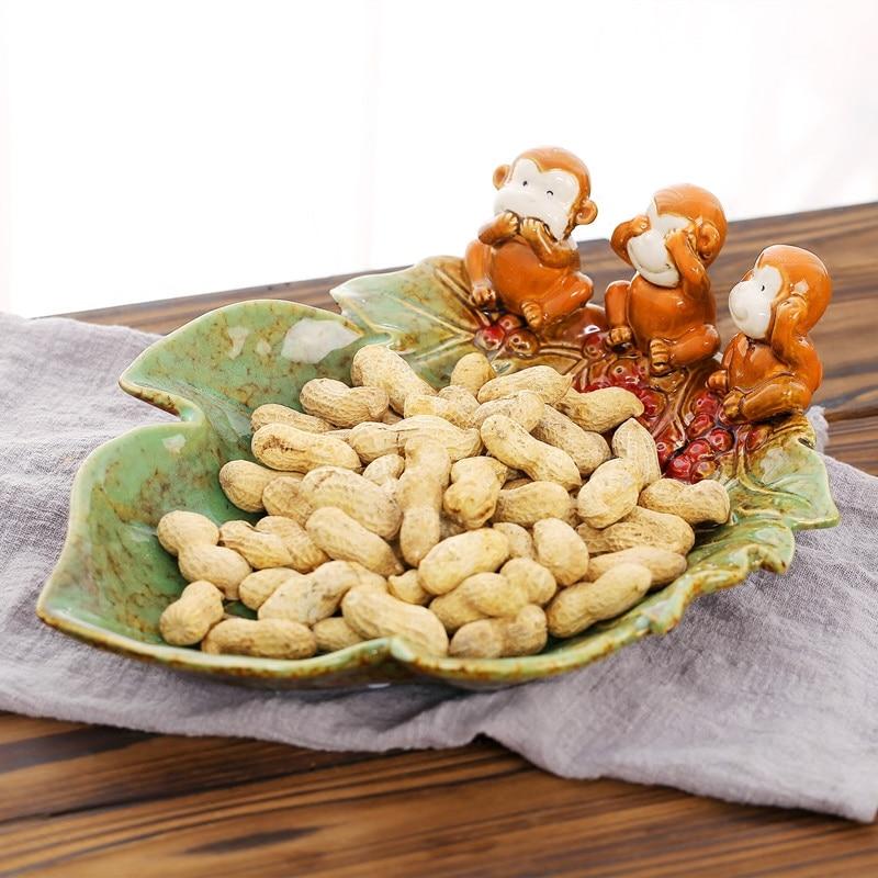 Céramique artisanat trois singes collations plateau de stockage Figurine maison Table Fruits plaques cuisine boîte de rangement alimentaire organisateurs conteneur