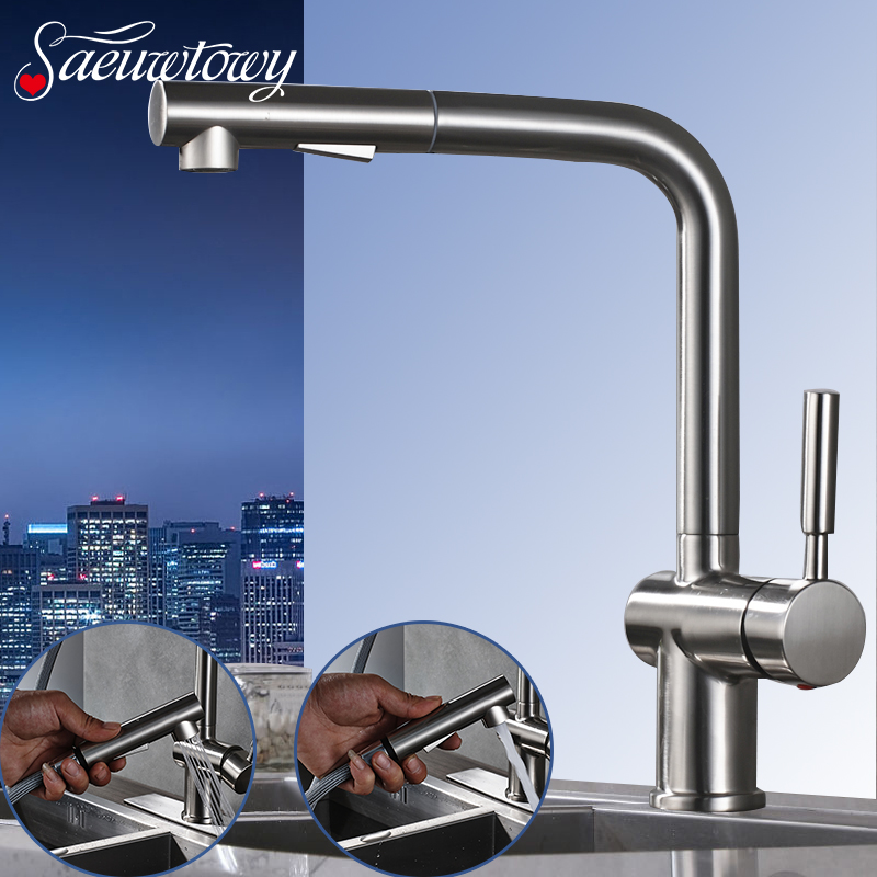 Chrome Brushed Nickle Kitchen Faucet Deck Mounted Pull Out Hot and Cold Mixer Sink Tap Single