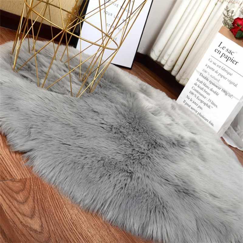 רך מלאכותי כבש שטיח כיסא כיסוי שינה מחצלת מלאכותי צמר חם שעיר שטיח מושב Textil פרווה אזור שטיחים 30*30 CM