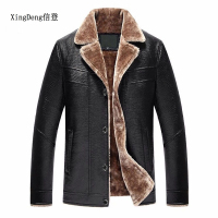 XingDeng PU Leather Brand fashion Jackets Men top Coats High Quality Outerwear Male Business Warm Faux Fur Male top clothes