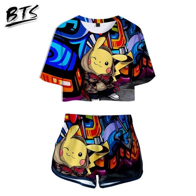8cb863203d53c BTS 2018 Hot Sale Kawaii Kpop Crop Tops Women 3D pikachu Shorts And T-shirt