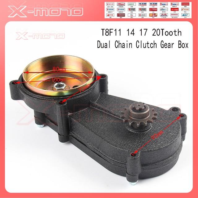 T8F Dual Chain Clutch Gear Box Black 11 13 14 17 19 20 tooth For 43cc 47cc 49cc Mini Moto Pit Dirt Bike Quad ATV Buggy Go kart