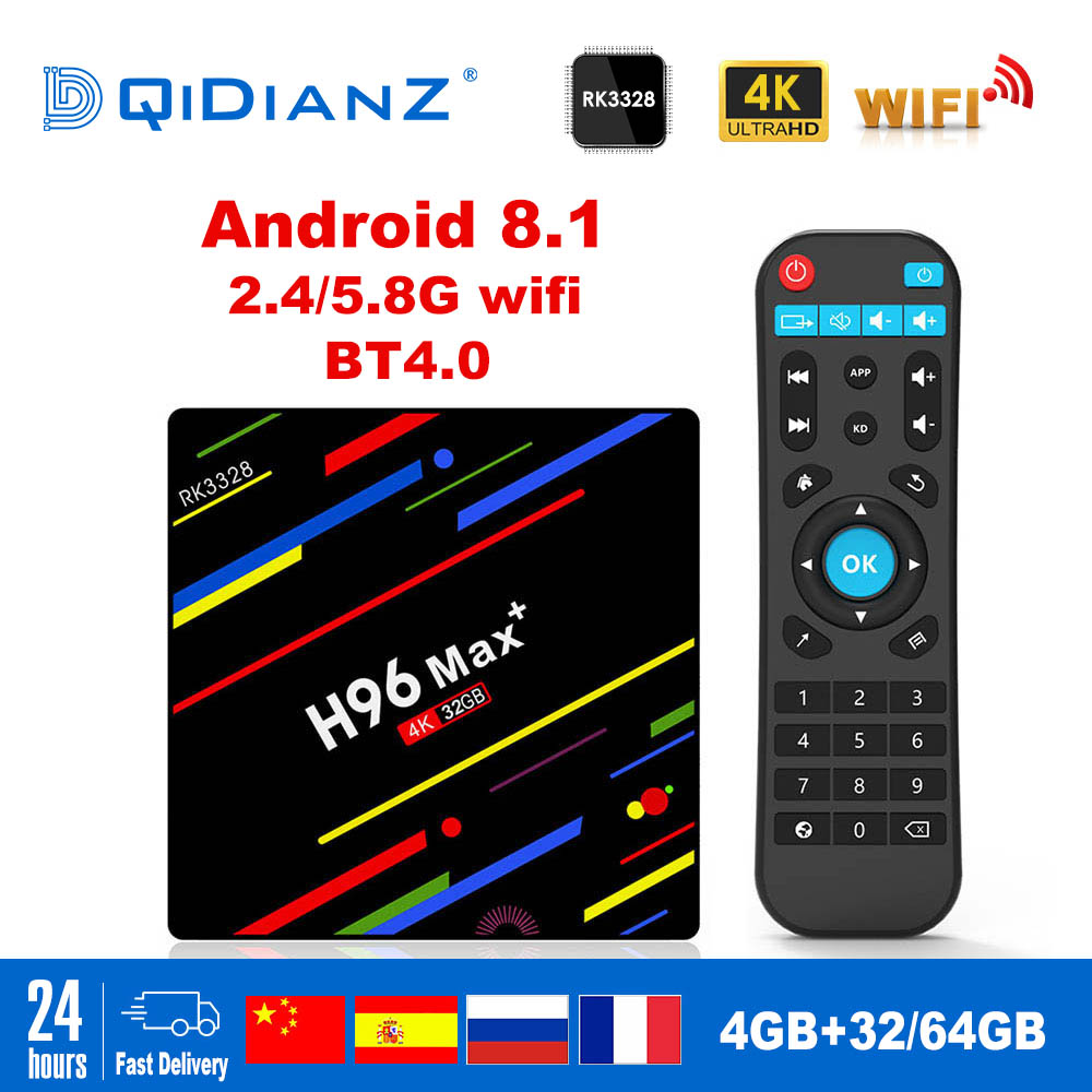 H96MAX + Android Smart TV box 8,1 RK3328 Quad Core 4GB Ram 32 GB/64 GB Rom 4K H.265 USB3.0 IPTV H96max más Netflix Set Top Box-in Decodificadores from Productos electrónicos    1